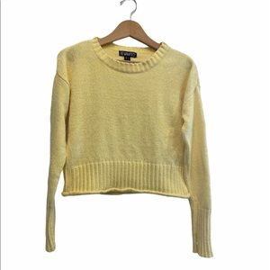 Revamped Yellow Cropped Fall Winter Knit Sweater Size Small GUC